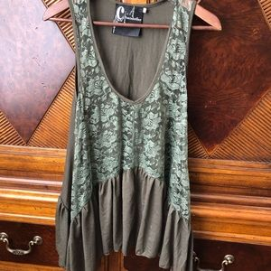 Anthropology chandelier brand army green boho top